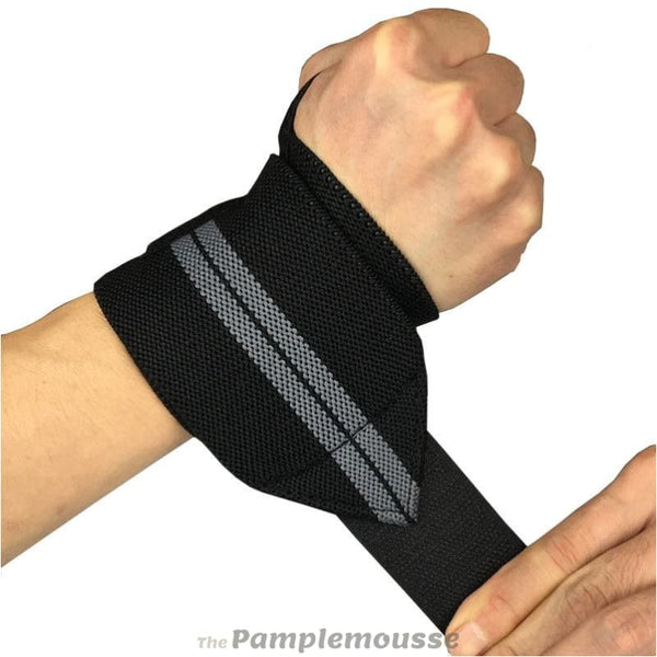 2 Pieces Adjustable Elastic Wristband Breathable Wrist Support Brace Wrist Wraps Bandages For Workout Weightlifting - Gray - Free Shipping -