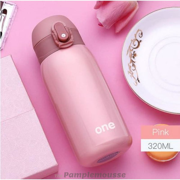 220Ml-320Ml Candy Color Portable Thermos Water Bottle Travel Mug Vacuum Flasks Stainless Steel Insulated Tumbler - Pink / 320Ml - Free