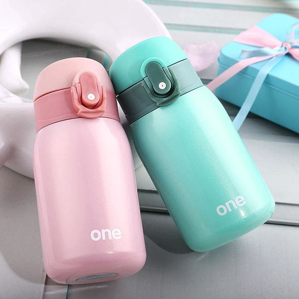 220Ml-320Ml Candy Color Portable Thermos Water Bottle Travel Mug Vacuum Flasks Stainless Steel Insulated Tumbler - Pink / 220Ml - Free