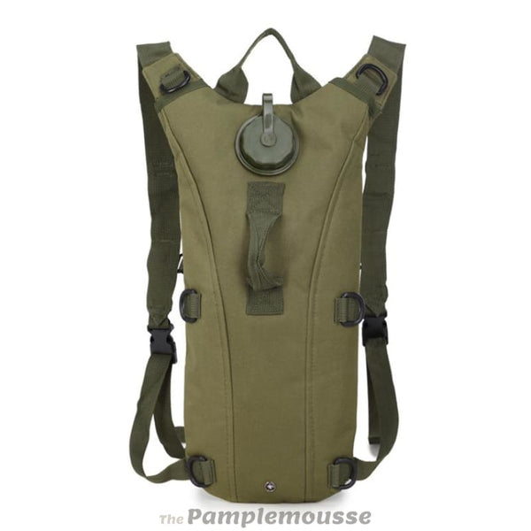 2L Tactical Army Molle Hydration Pack Water Bladder Camping And Hiking Waterproof Wearable Military Nylon Hydro Bag - Army Green - Free