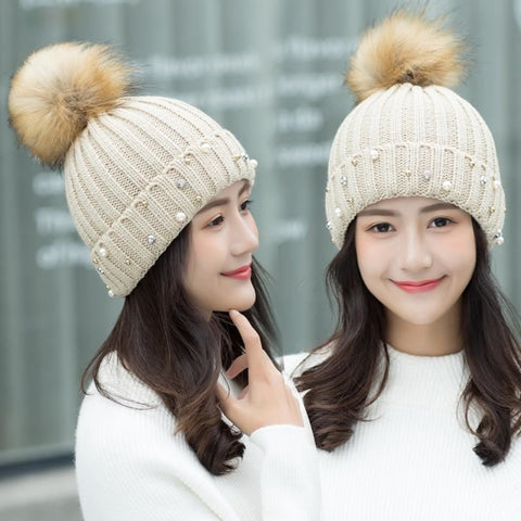 Big Fur Pom Beanie Crochet Knitted Bobble Hat - Beige - Free Shipping - Fashion - Accessories - $9.90 | The Pamplemousse