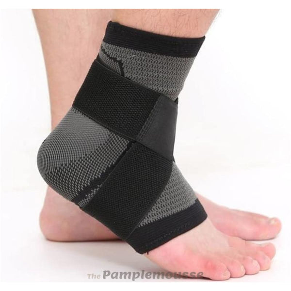Elastic Nylon Ankle Strap Support Brace Sports Fitness Ankle Heel Protector Strap Outdoor Exercise Adjustable Ankle Support Brace - Black /