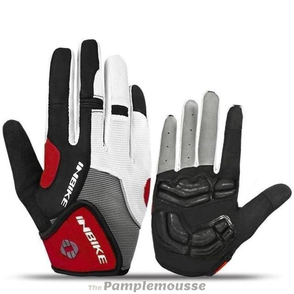 Full Finger Touch Screen Cycling Gloves Bike Gel Padded Outdoor Sports Fitness Bicycle Gloves - Red / M - Free Shipping - Sports -