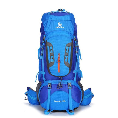 High Capacity 80L Lightweight Camping Hiking Backpack Big Outdoor Nylon Ultra Light Sport Travel Rucksack - Blue - Free Shipping -