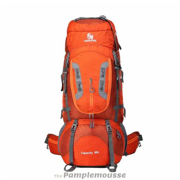 High Capacity 80L Lightweight Camping Hiking Backpack Big Outdoor Nylon Ultra Light Sport Travel Rucksack - Orange - Free Shipping -