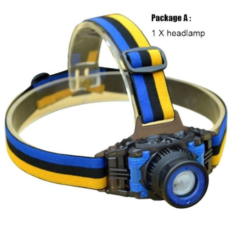 High Power Q5 1600 Lumen Led Headlamp Rechargeable Zoomable Yellow/blue Flashlight - Package A - Free Shipping - Outdoor - $11.90 | The