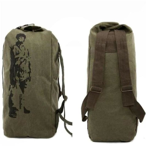 High Quality Multifunctional Military Backpack Canvas Barrel Bag Big Army Bucket Bag Outdoor Sports Duffle Bag Travel Rucksack - Army Green