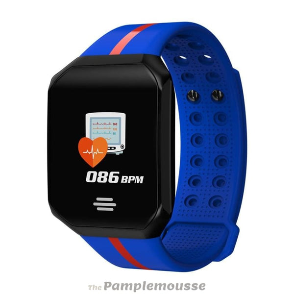 Ip67 Waterproof Sport Blood Pressure Smart Watch Heart Rate Fitness Tracker Smartband For Ios Android - Blue - Free Shipping - Sports -