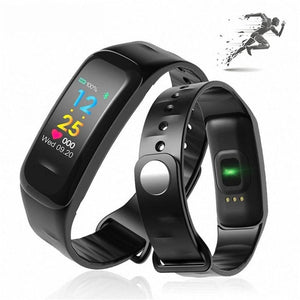 Iphone Android Compatible Smart Fitness Activity Tracker Heart Rate Sleep Monitor Pedometer Bracelet Sports Wristband - Black - Free