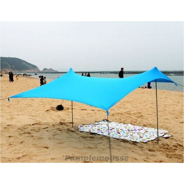 Large Beach Canopy Upf50+ Lycra Fabric Sunshade Beach Shelter Tent With Sandbag Anchors - Blue / 150Cm - Free Shipping - Outdoor - Gear -