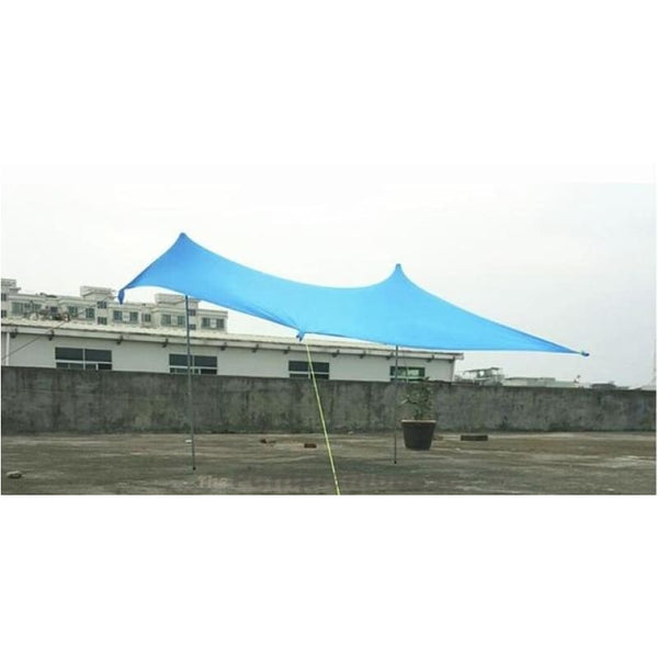 Large Beach Canopy Upf50+ Lycra Fabric Sunshade Beach Shelter Tent With Sandbag Anchors - Blue / 210Cm - Free Shipping - Outdoor - Gear -