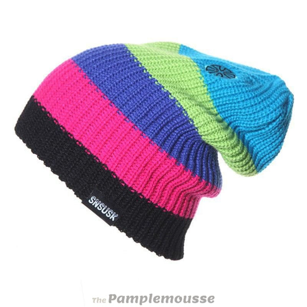 Lightweight Unisex Striped Winter Hats 5 Colors Men Women Warm Ski Beanie - A - Free Shipping - Outdoor - Accessories - $13.00 | The
