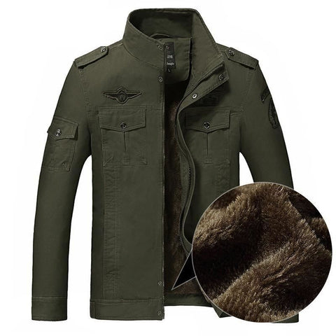 Men Army Green Military Winter Fleece Casual Jacket - Free Shipping - Fashion - Clothing - $60.00 | The Pamplemousse
