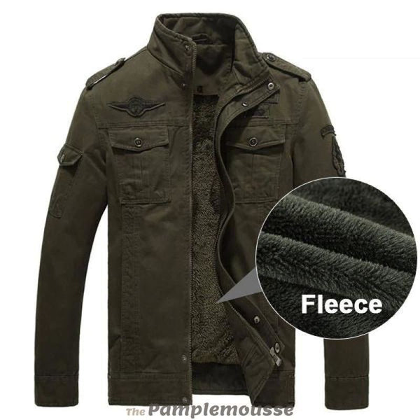 Men Army Green Military Winter Fleece Casual Jacket - Army Green / M - Free Shipping - Fashion - Clothing - $60.00 | The Pamplemousse