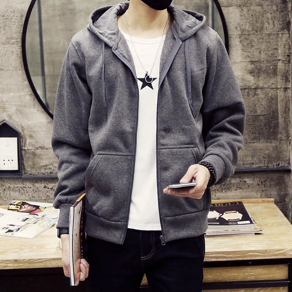 Men Basics New Autumn Winter Long Sleeve Hoodies Sweatshirt - Gray / S - Free Shipping - Fashion - Clothing - $20.00 | The Pamplemousse