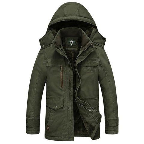 Men Cotton Padded Parka - Solid Colored Print Hooded Thick Warm Jacket - Army Green / M - Free Shipping - Fashion - Clothing - $87.00 | The