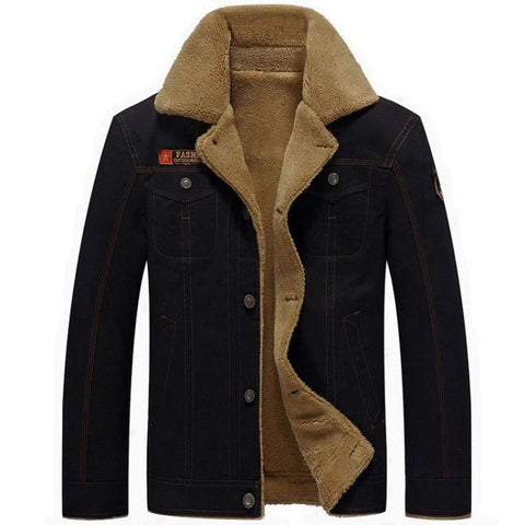 Men Fleece Winter Cotton Fur Collar Military Jacket - Black / M - Free Shipping - Fashion - Clothing - $50.00 | The Pamplemousse