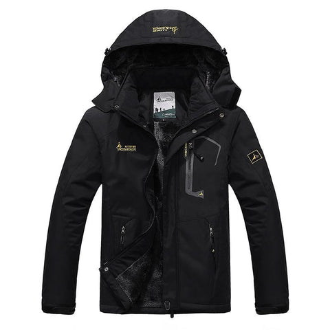 Men Outdoor Winter Inner Fleece Waterproof Jacket - Black / L - Free Shipping - Fashion - Outdoor - $59.00 | The Pamplemousse
