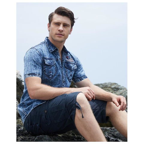 Men Short Sleeve High Quality Denim Shirt - Dark Blue / S - Free Shipping - Fashion - Clothing - $24.00 | The Pamplemousse