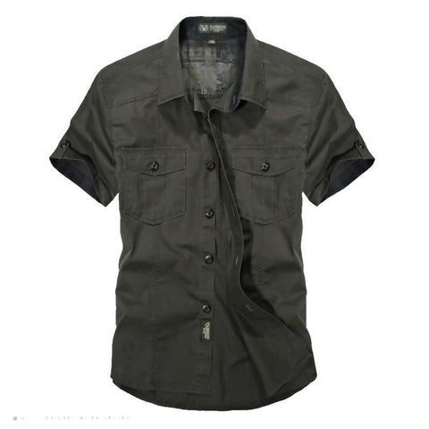 Men Summer Military Style Cotton Solid Casual Shirt - Army Green / M - Free Shipping - Fashion - Clothing - $30.00 | The Pamplemousse