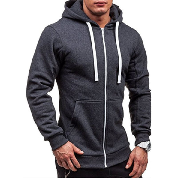 Men Warm Fleece Cotton Zip Up Outerwear Hooded Sweatshirt - Dark Gray / L - Free Shipping - Fashion - Clothing - $20.00 | The Pamplemousse
