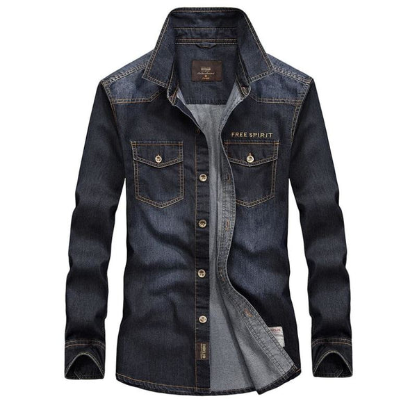 Men Washed Cotton Denim Long Sleeve Button Down Military Style Shirt - Black / S - Free Shipping - Fashion - Clothing - $29.00 | The
