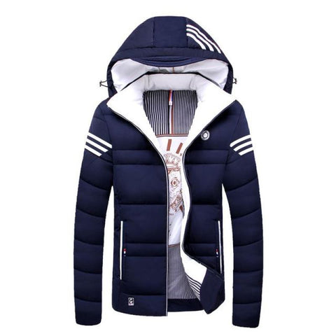 Men Winter Cotton Padded Jacket - Solid Colored Hooded - Dark Blue / M - Free Shipping - Fashion - Clothing - $45.00 | The Pamplemousse