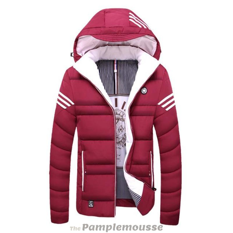 0e68a4270992 Men Winter Cotton Padded Jacket - Solid Colored Hooded - Red   M - Free  Shipping