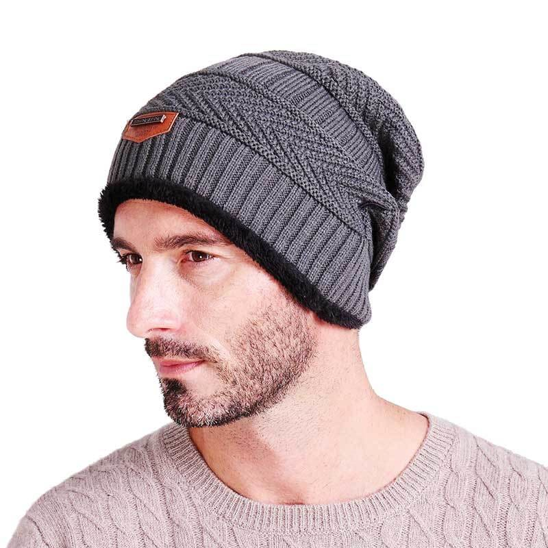 a52bd358d17 Men Winter Warm Knitted Thick Soft Stretch Slouchy Beanie - Gray - Free  Shipping - Fashion