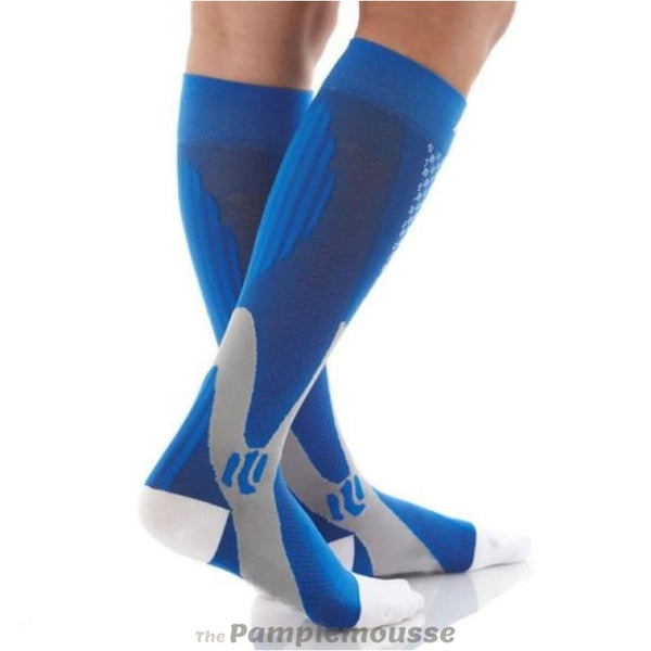 Men & Women Running Snowboard Long Winter Socks Leg Support Stretch Outdoor Sport High Knee Compression Socks - Blue / 7-8.5 - Free Shipping