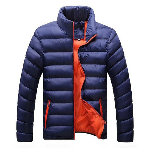 Mens Active Street Thick Bomber Down Jacket - Solid Colored Zipper - Navy Blue / S - Free Shipping - Fashion - Clothing - $34.90 | The