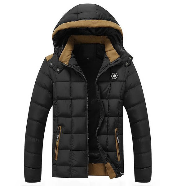 Mens Cotton Padded Thick Warm Hooded Jacket - Black / L - Free Shipping - Fashion - Clothing - $69.90 | The Pamplemousse