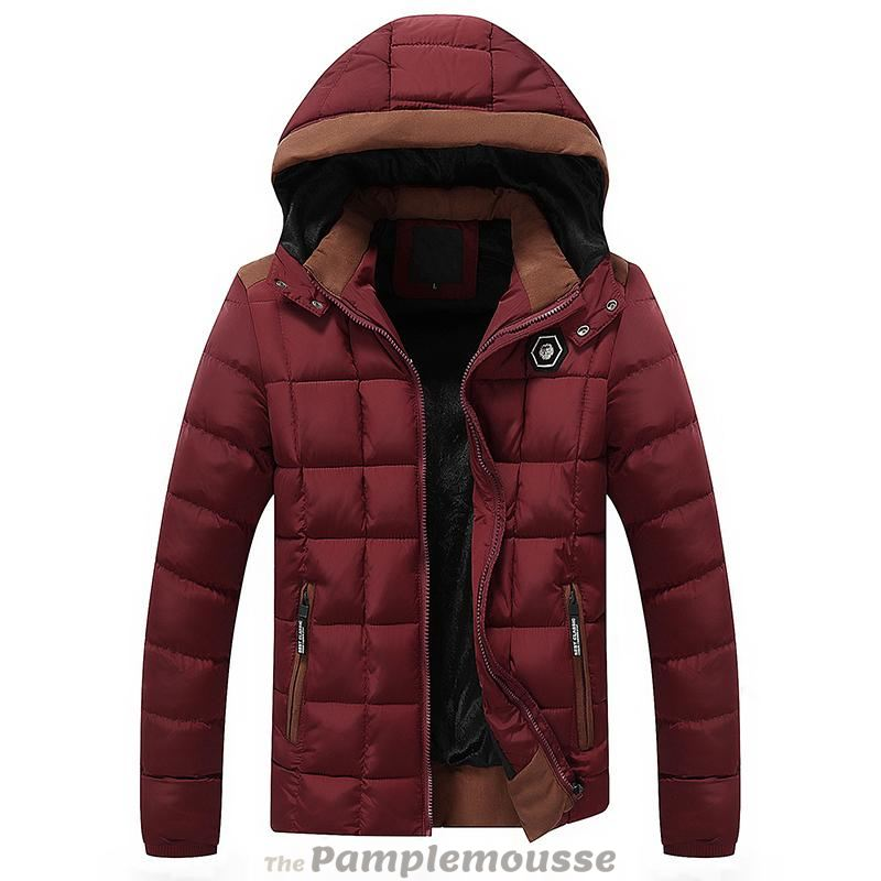 18953698cbd3 Mens Cotton Padded Thick Warm Hooded Jacket - Wine   L - Free Shipping -  Fashion