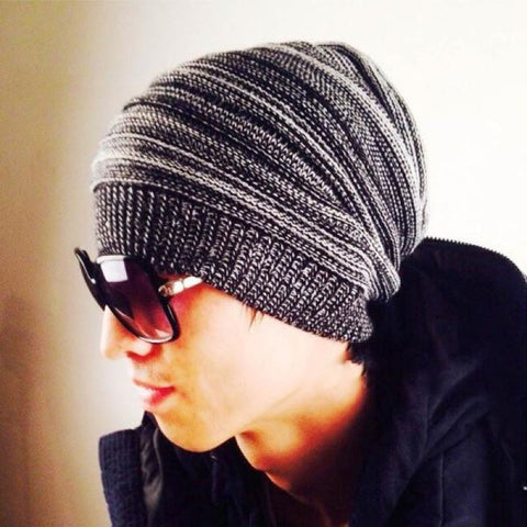 Mens Hip-Hop Knit Wool Warm Slouch Beanie Skully Cap - Black - Free Shipping - Fashion - Accessories - $7.90 | The Pamplemousse