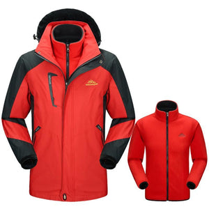 Mens Hooded Waterproof 3-In-1 Winter Softshell Fleece Ski Jacket - Red / L - Free Shipping - Outdoor - $59.90 | The Pamplemousse