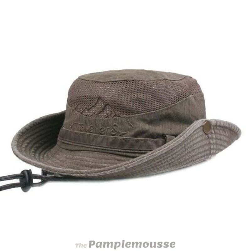 bdd32719387 Mens Summer Cotton Outdoor Bucket Hat Army Boonie Jungle Hat Fishing Cap -  Coffee - Free