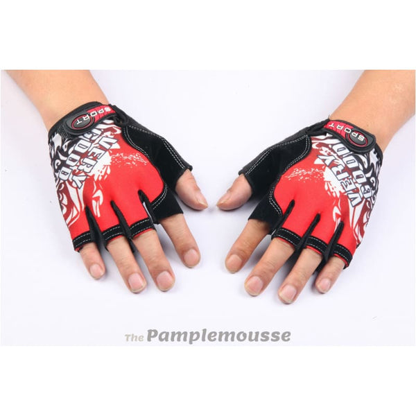 Mountain Bike Cycling Gloves Outdoor & Sports Half Finger Gloves - Red - Free Shipping - Sports - Accessories - $9.00 | The Pamplemousse