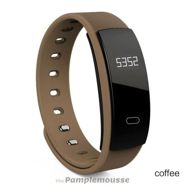 Smart Fitness Tracker Wristband Heart Rate Monitor Bluetooth Bracelet For Iphone Android Phone - Coffee - Free Shipping - Sports -