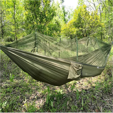 Tactical High Strength Military Hammock With Mosquito Net Army Parachute Fabric Hunting Hanging Sleeping Bed - Free Shipping - Outdoor -