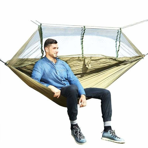 1-2 Person Portable Outdoor Camping Parachute Fabric Hammock Bed With Mosquito Net - Army Green - Free Shipping - Outdoor - Outdoor - $29.00