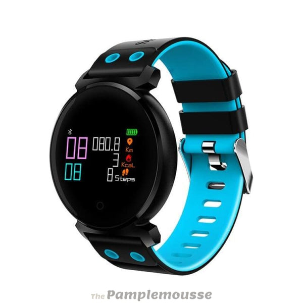 Unisex Bluetooth Smart Watch Ip68 Waterproof Colorful Oled Heart Rate Blood Pressure Monitor Smartwatch For Ios Android - Blue - Free
