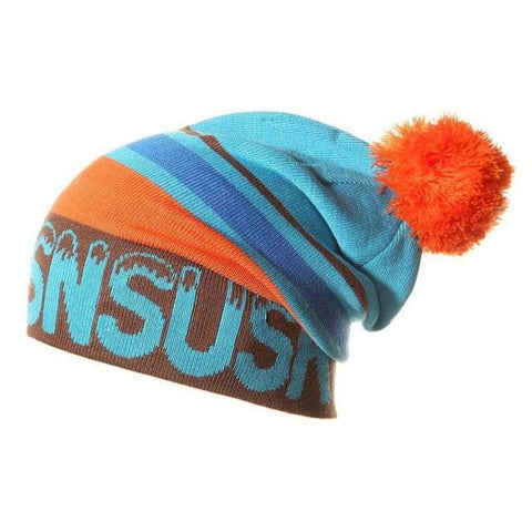 Unisex Pom Beanie Snowboard Winter Ski Hat Snow Cap Hat - Sky Blue / One Size - Free Shipping - Outdoor - Accessories - $14.00 | The