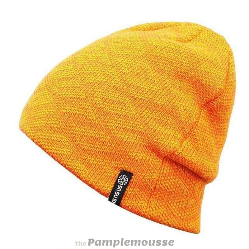 Unisex Warm Thick Beanie Winter Hat Sports Skiing Hat For Men And Women -  Yellow - 892511249fe