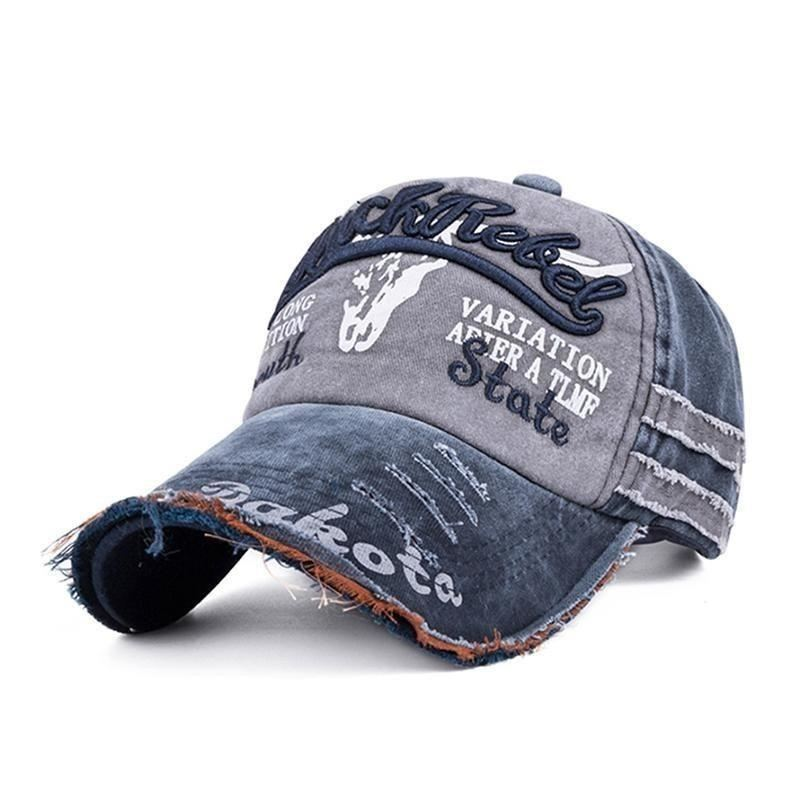 Washed Cotton Design Adjustable Baseball Cap For Men And Women - Blue -  Free Shipping - 9d9a8ff0470