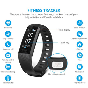 Waterproof Bluetooth Smart Activity Tracker Sleep Heart Rate Fitness Pedometer Bracelet Watch - Black - Free Shipping - Electronics -