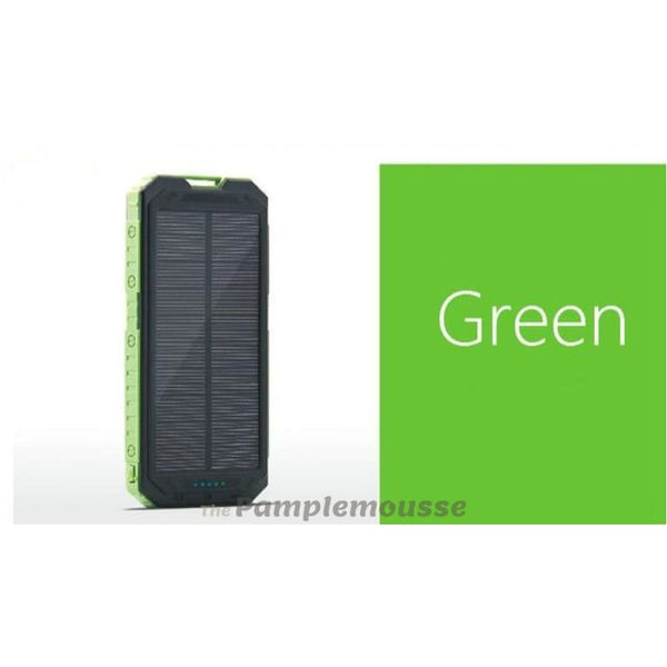 Waterproof Portable Solar Power Bank Dual Usb Solar-Powered 20000 Mah Phone Charger - Green - Free Shipping - Outdoor - Electronics - $23.00