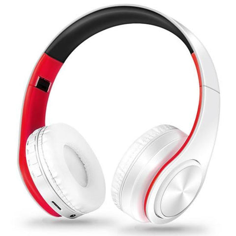 Wireless Bluetooth Foldable Headset Stereo Headphone Earphone For Iphone Samsung Google Sony Huawei Lg Oppo Xiaomi - White Red - Free