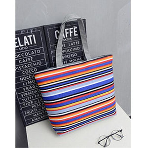 Women Beach Canvas Shoulder Bag - Hobo Shopping Tote Striped Zipper Handbag - 1 - Free Shipping - Accessories - Bags - $15.00 | The
