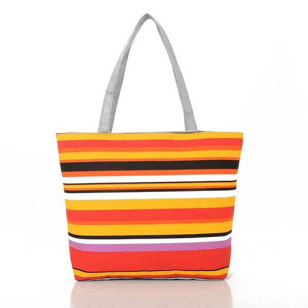 Women Canvas Rainbow Print Striped Shopping Beach Shoulder Bag - C - Free Shipping - Accessories - Bags - $13.00 | The Pamplemousse