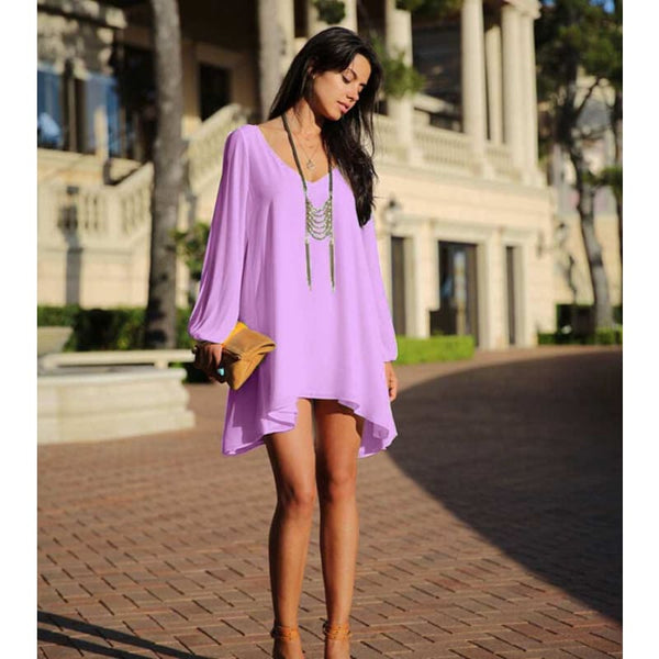 Women Hot Casual Sundress Midi Length Summer Evening Cocktail Party Beach Dress - Purple / M - Free Shipping - Fashion - Clothing - $17.00 |